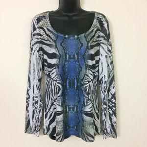 Cache Blue Animal Snakeskin Print Top